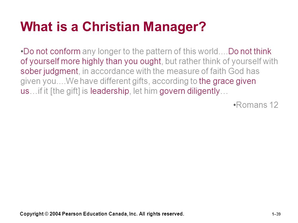 What is a Christian Manager