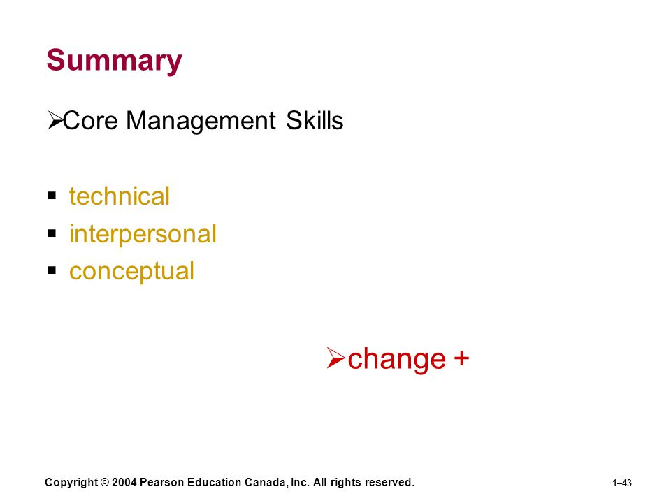Summary change + Core Management Skills technical interpersonal