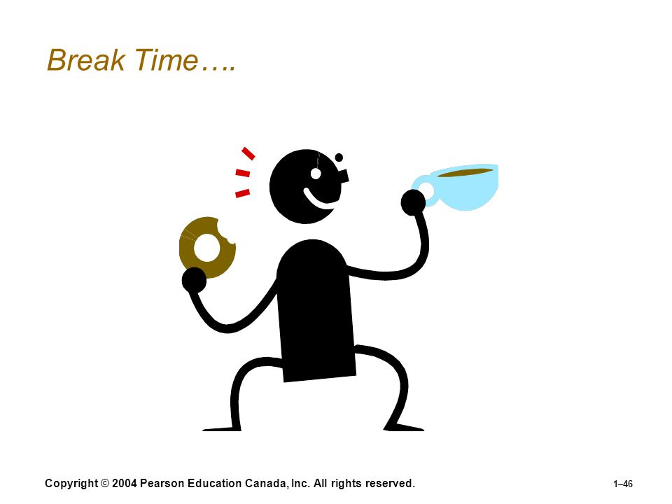 Break Time…. Copyright © 2004 Pearson Education Canada, Inc. All rights reserved.