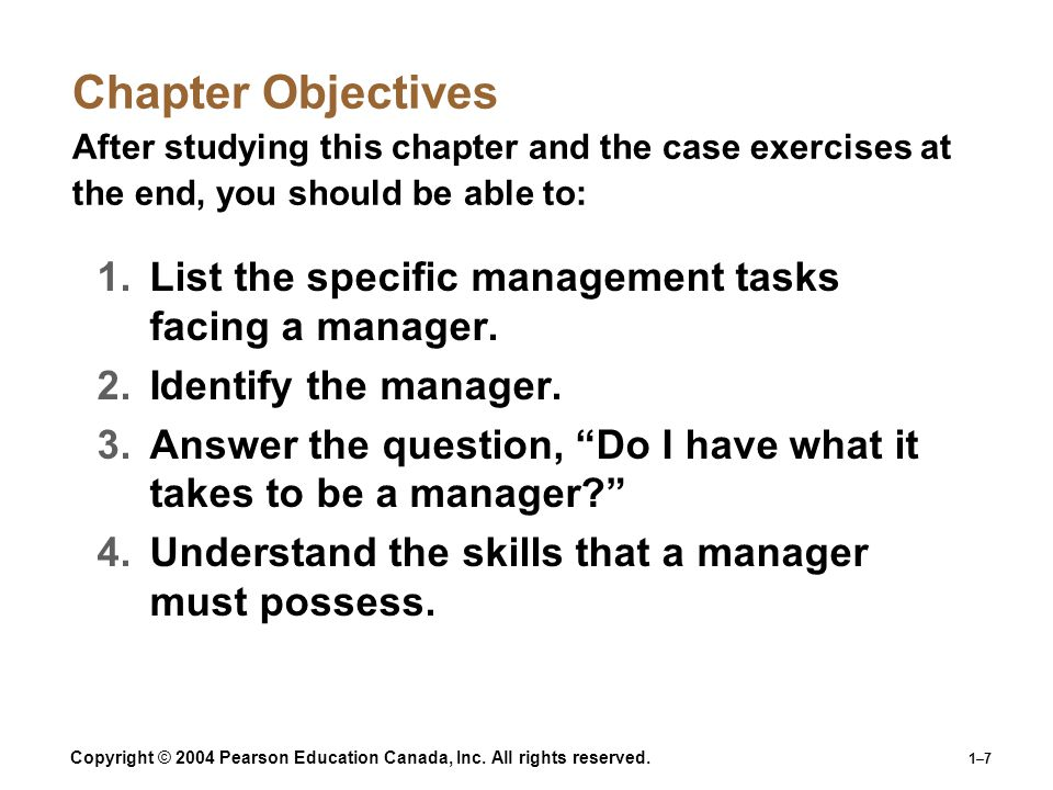 Chapter Objectives After studying this chapter and the case exercises at the end, you should be able to: