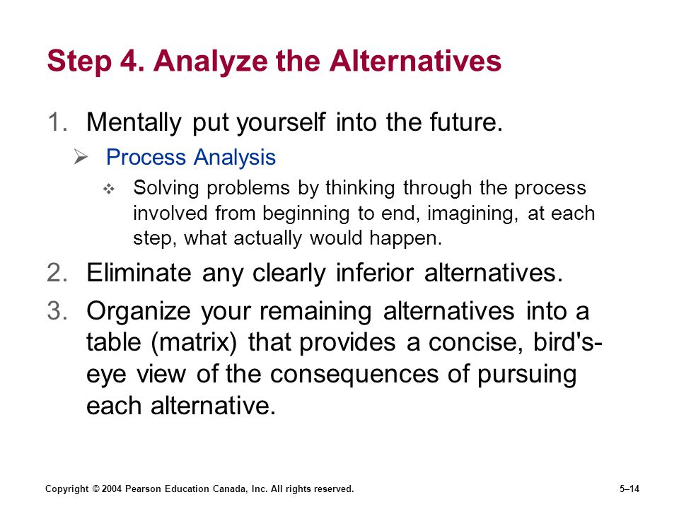 Step 4. Analyze the Alternatives