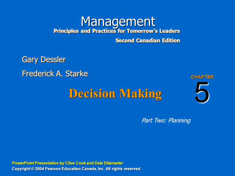 5 Decision Making Part Two: Planning CHAPTER