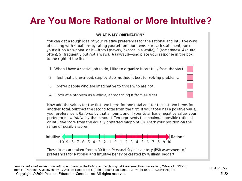 Are You More Rational or More Intuitive