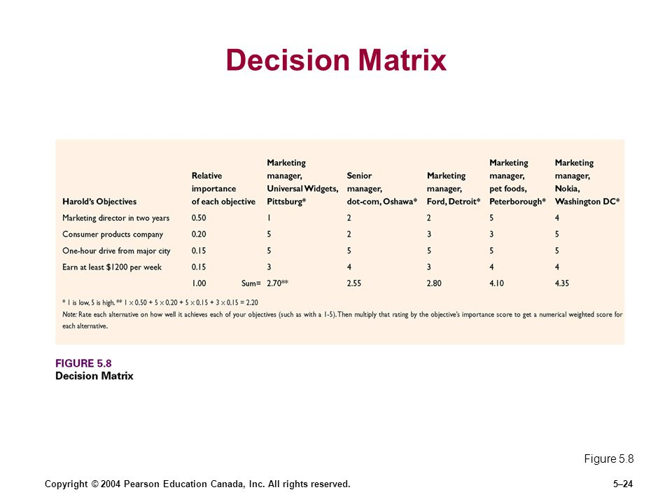 Decision Matrix Figure 5.8