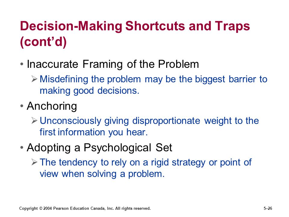 Decision-Making Shortcuts and Traps (cont'd)