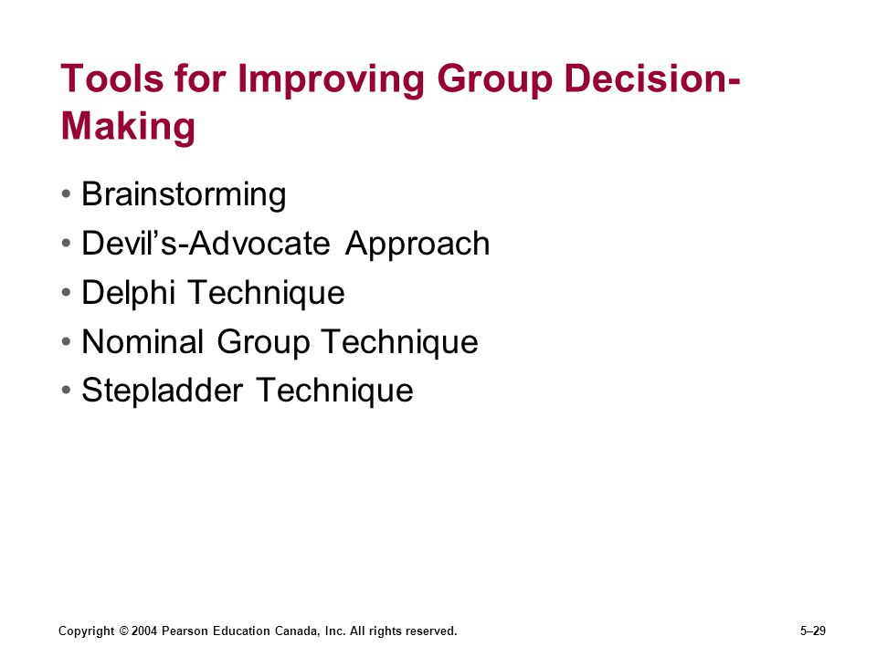 Tools for Improving Group Decision-Making