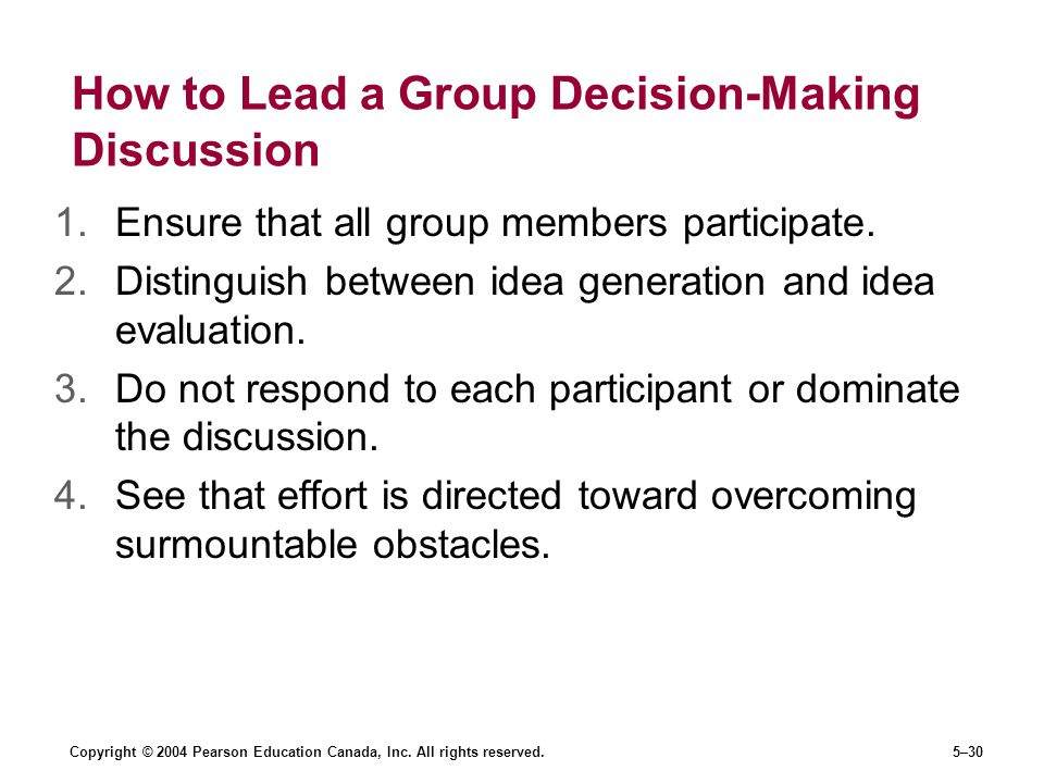 How to Lead a Group Decision-Making Discussion