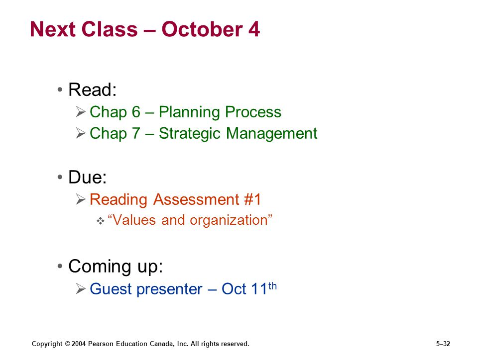 Next Class – October 4 Read: Due: Coming up: Chap 6 – Planning Process