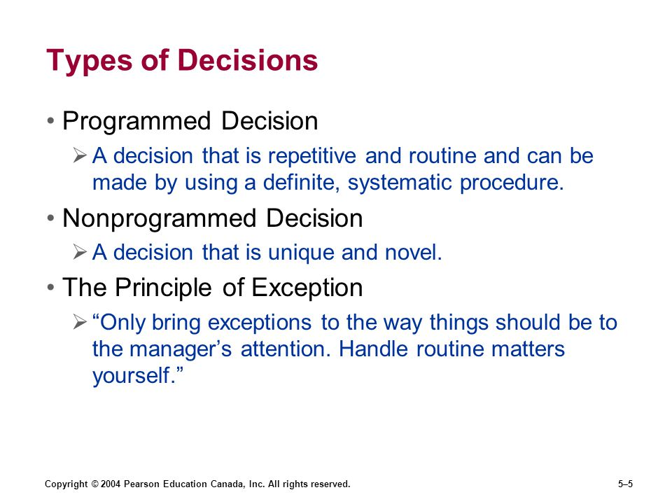 Types of Decisions Programmed Decision Nonprogrammed Decision