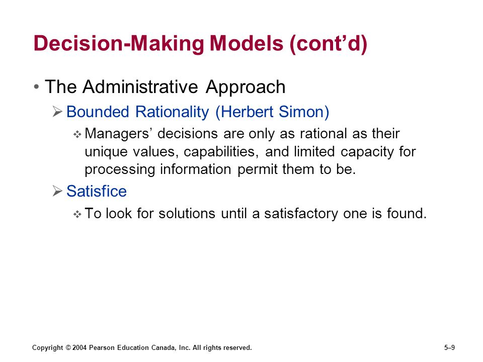 Decision-Making Models (cont'd)