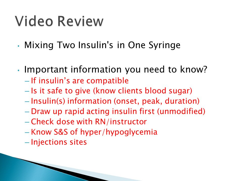 Video Review Mixing Two Insulin s in One Syringe