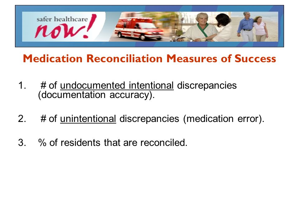 Medication Reconciliation Measures of Success