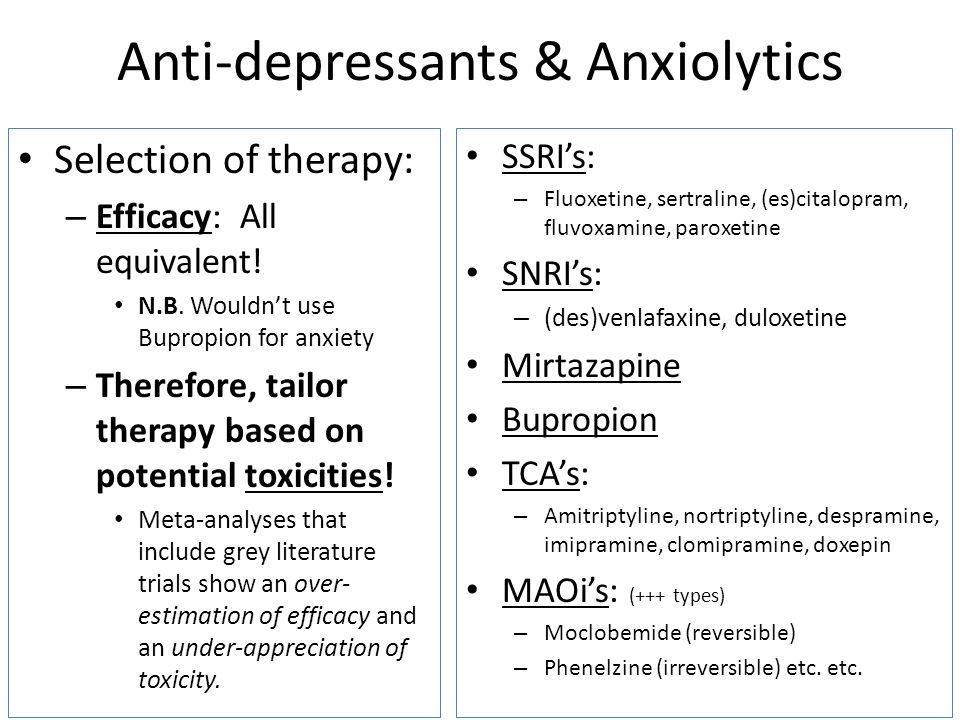 Anti-depressants & Anxiolytics
