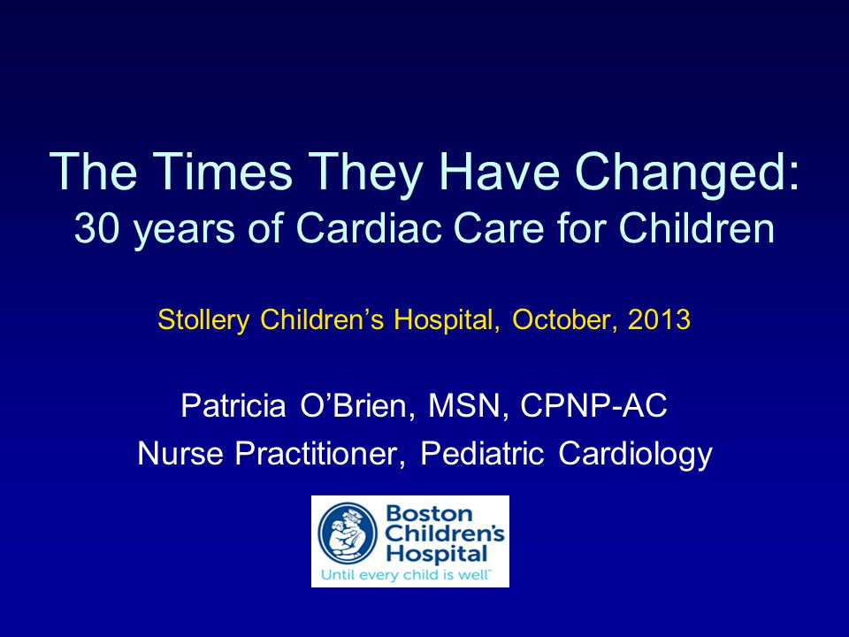 The Times They Have Changed: 30 years of Cardiac Care for Children