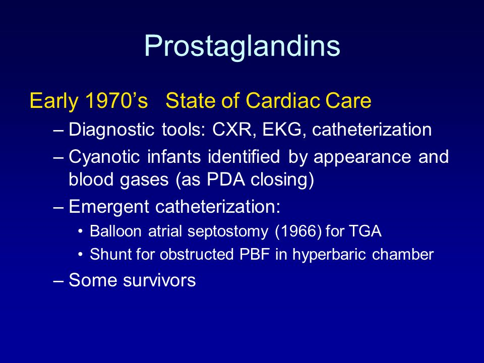 Prostaglandins Early 1970's State of Cardiac Care