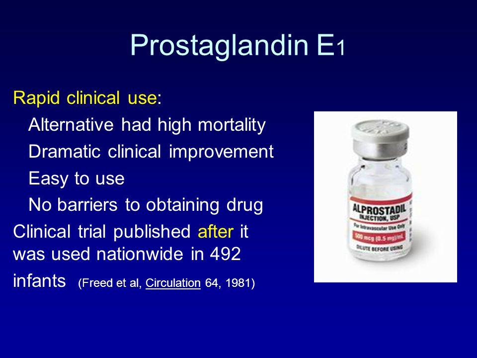 Prostaglandin E1 Rapid clinical use: Alternative had high mortality