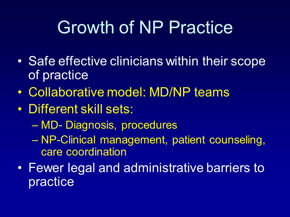 Growth of NP Practice Safe effective clinicians within their scope of practice. Collaborative model: MD/NP teams.