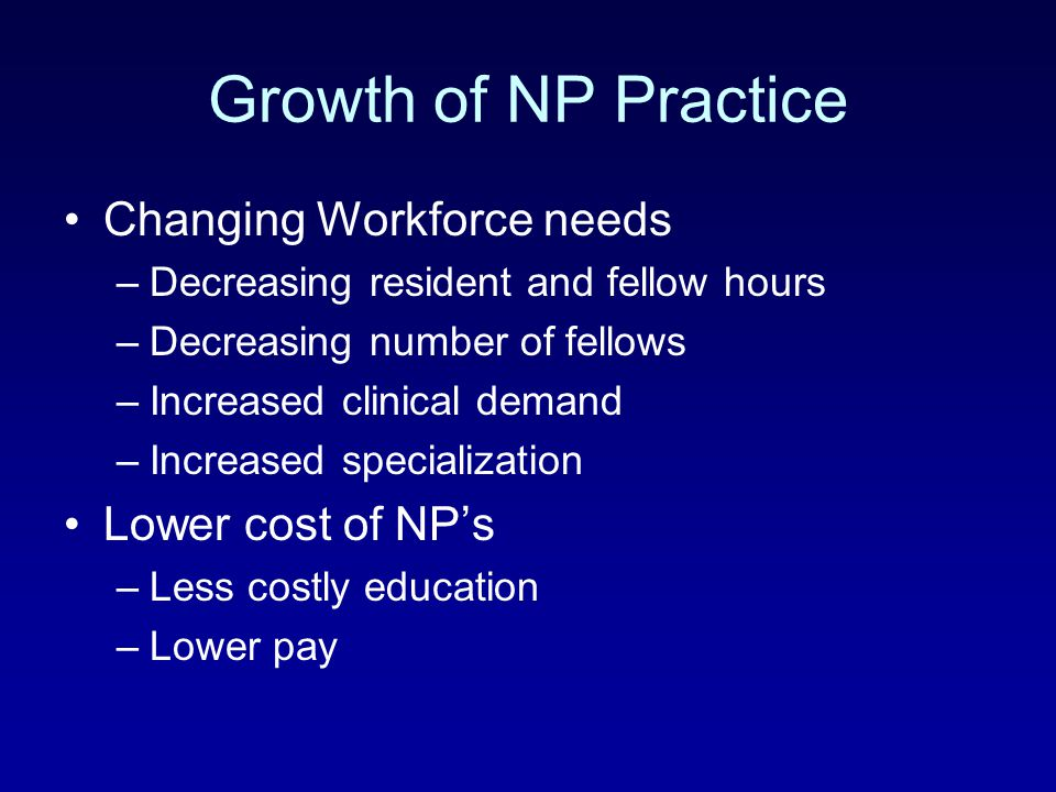 Growth of NP Practice Changing Workforce needs Lower cost of NP's