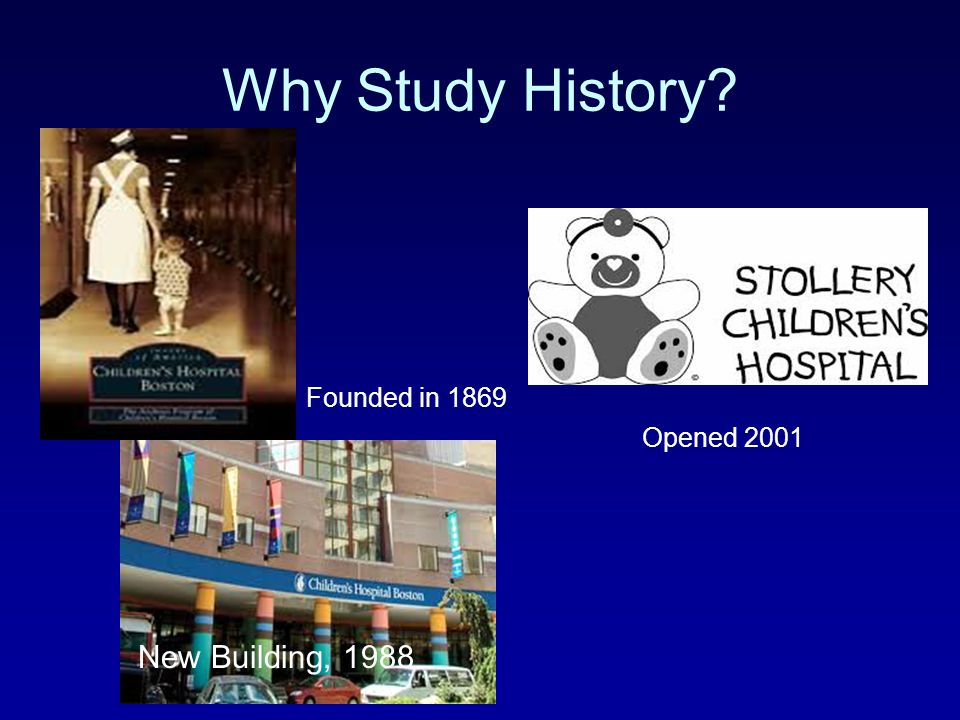 Why Study History Founded in 1869 Opened 2001 New Building, 1988