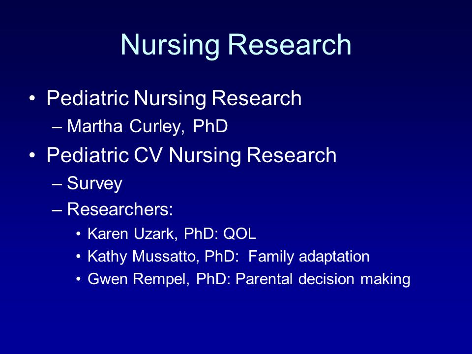 Nursing Research Pediatric Nursing Research