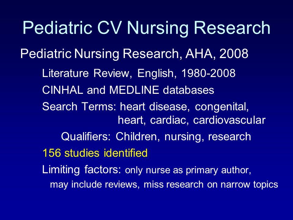 Pediatric CV Nursing Research