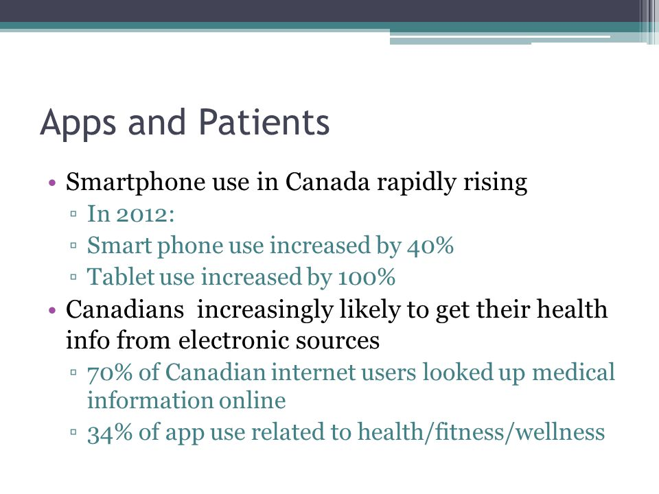 Apps and Patients Smartphone use in Canada rapidly rising