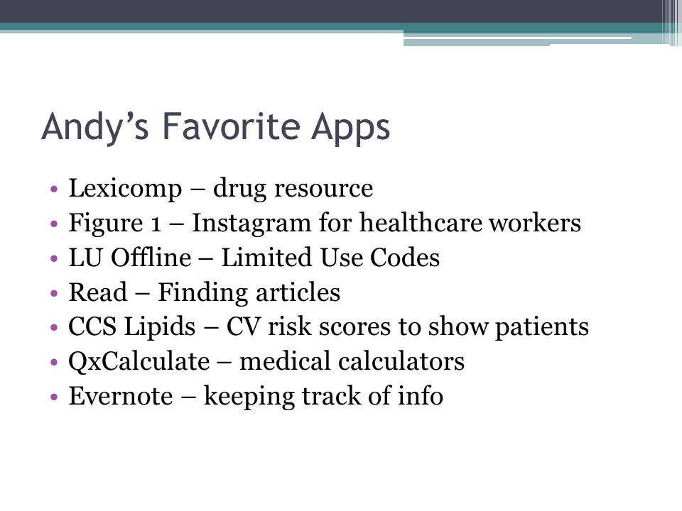 Andy's Favorite Apps Lexicomp – drug resource