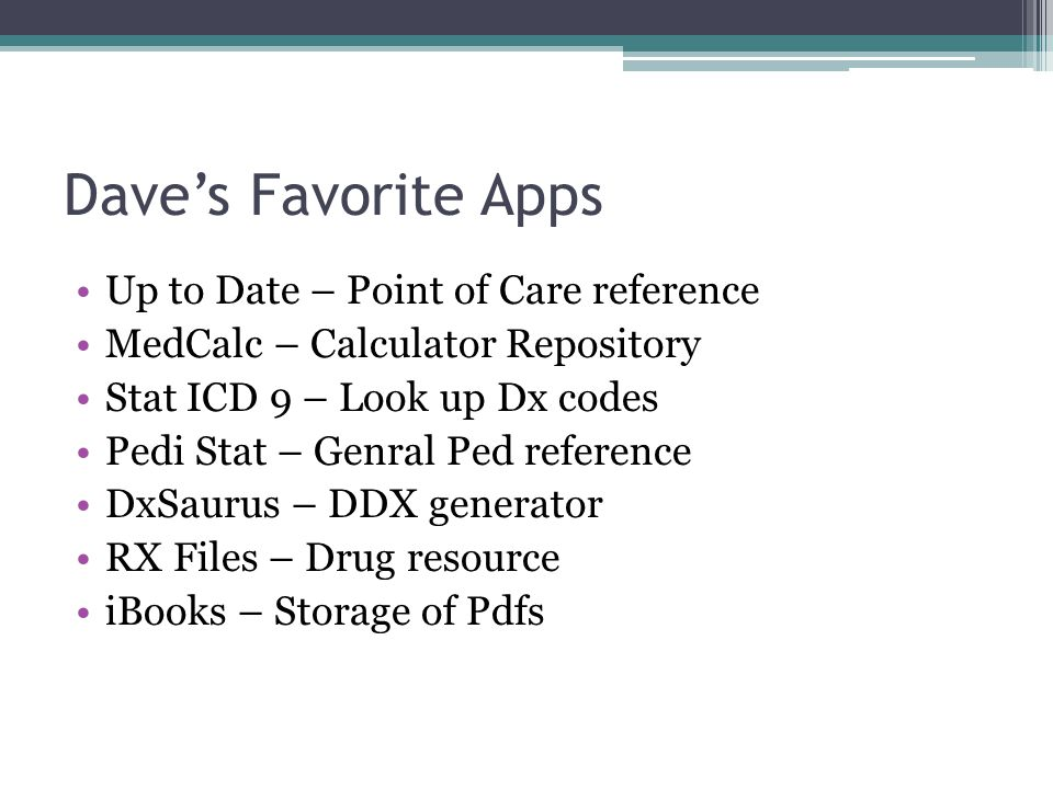 Dave's Favorite Apps Up to Date – Point of Care reference