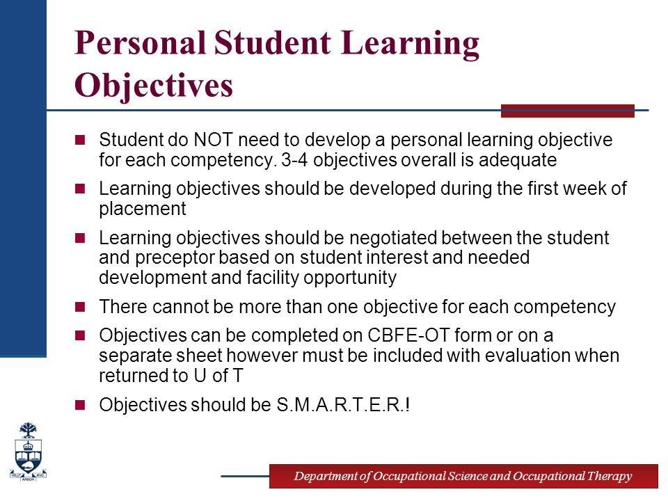 Personal Student Learning Objectives