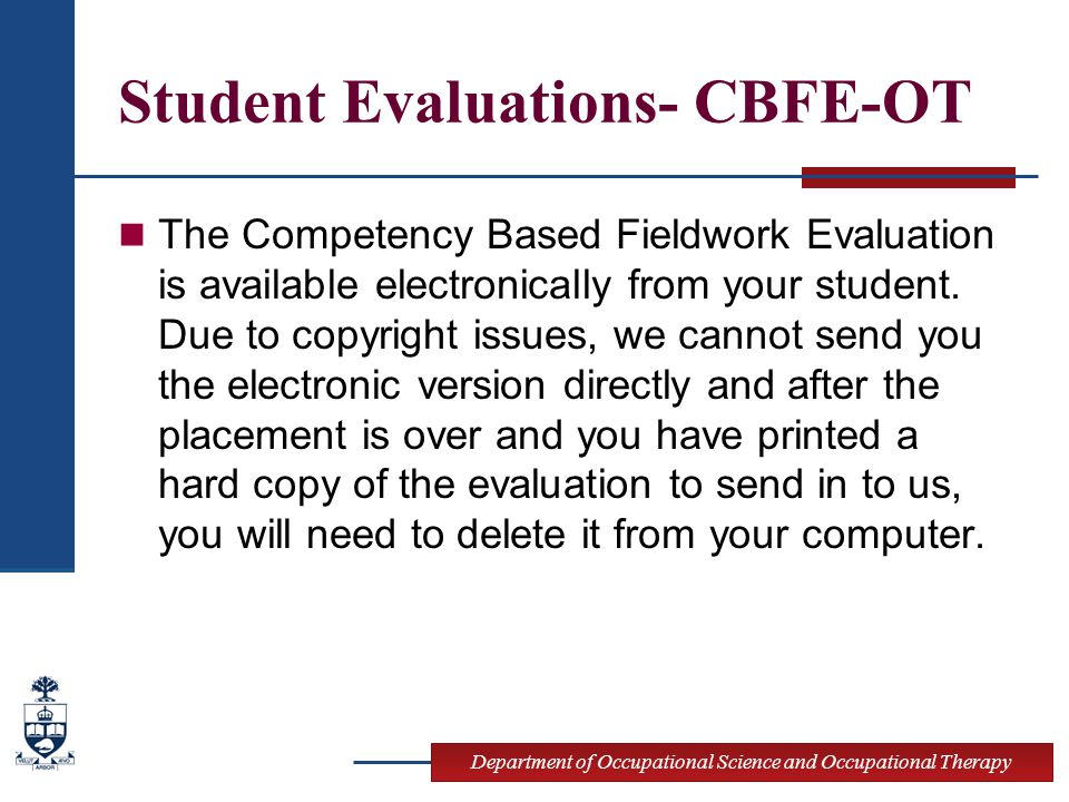 Student Evaluations- CBFE-OT