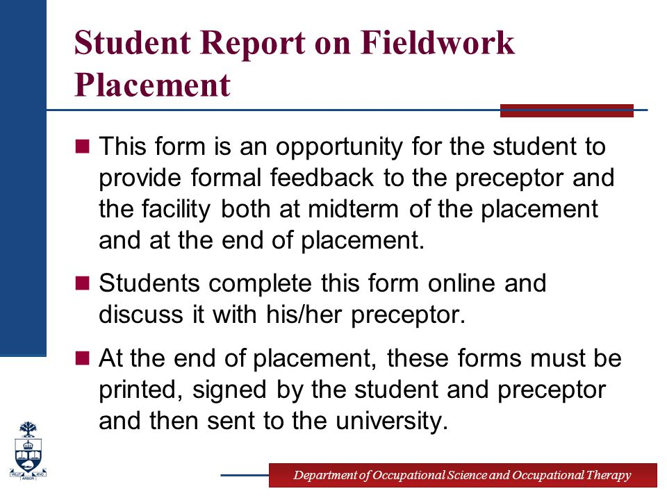 Student Report on Fieldwork Placement