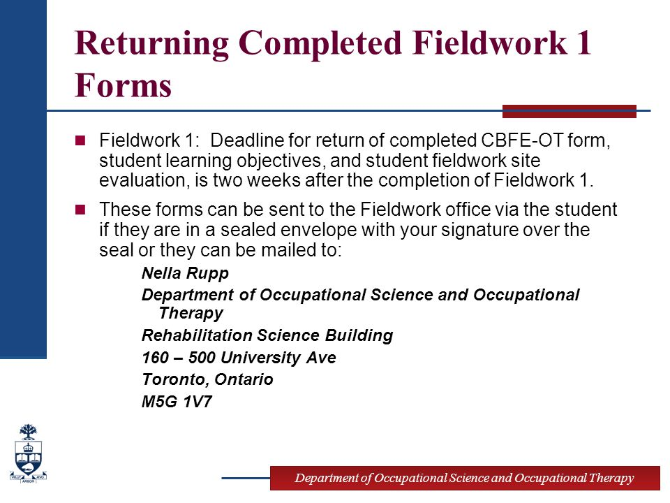 Returning Completed Fieldwork 1 Forms