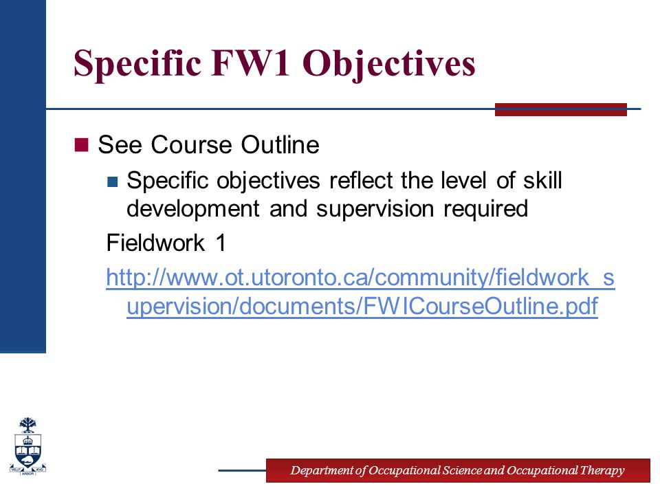 Specific FW1 Objectives