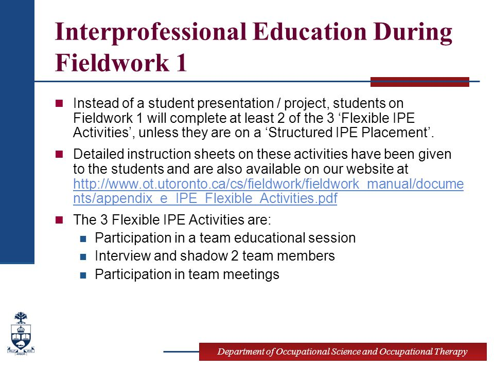 Interprofessional Education During Fieldwork 1