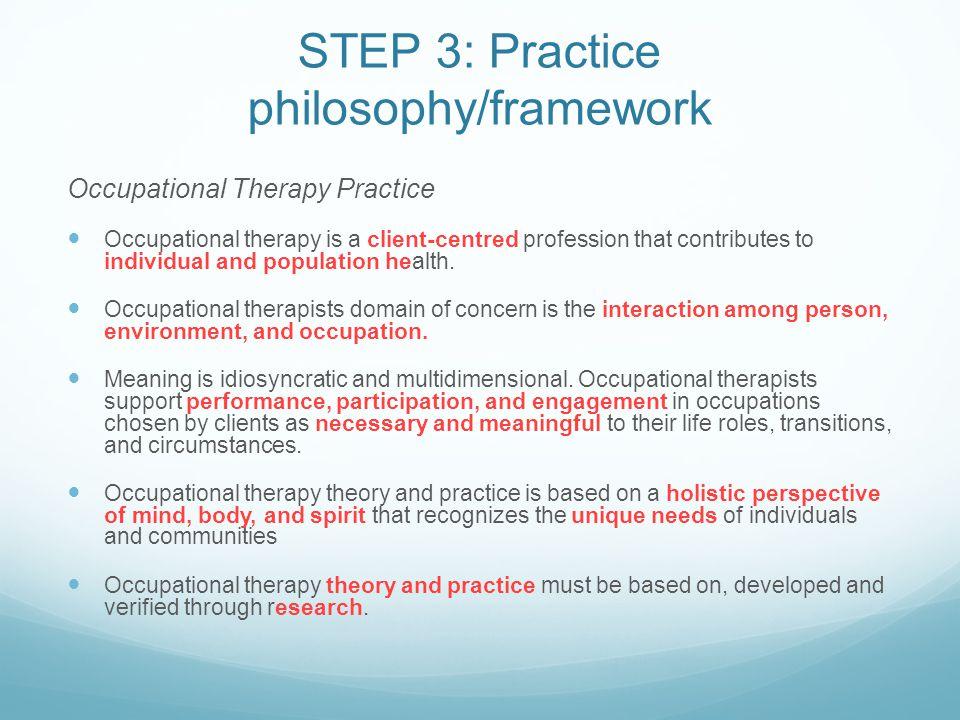 STEP 3: Practice philosophy/framework