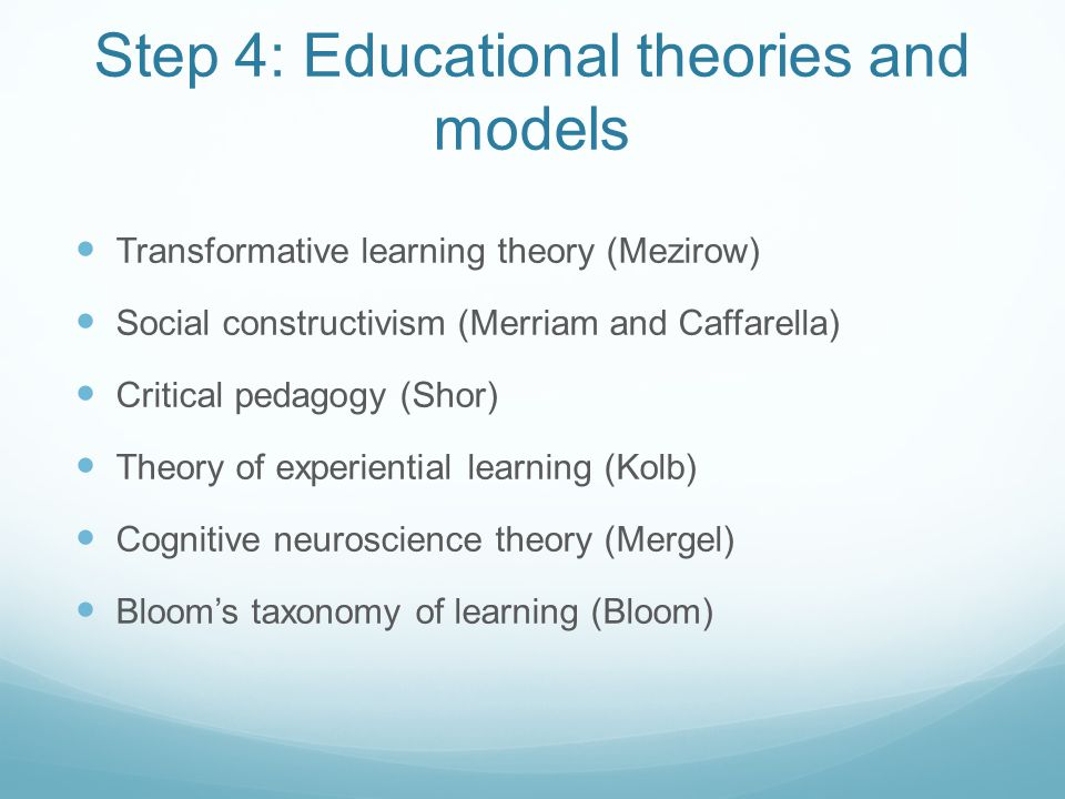 Step 4: Educational theories and models
