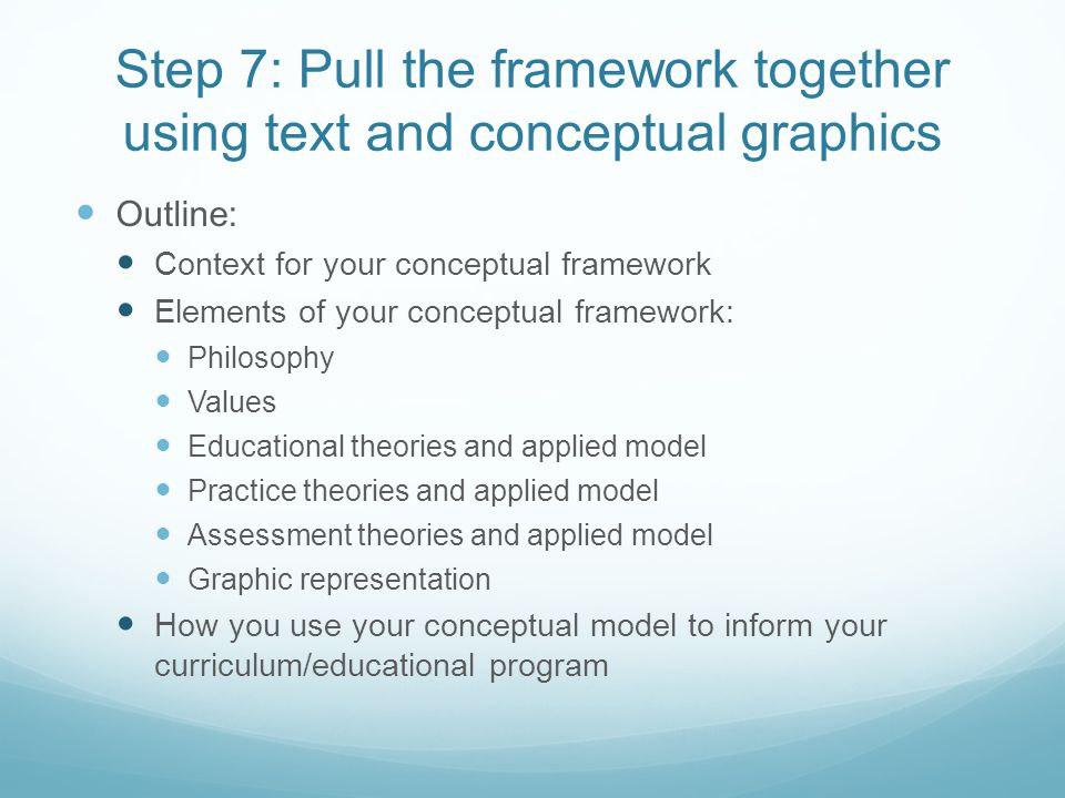 Step 7: Pull the framework together using text and conceptual graphics