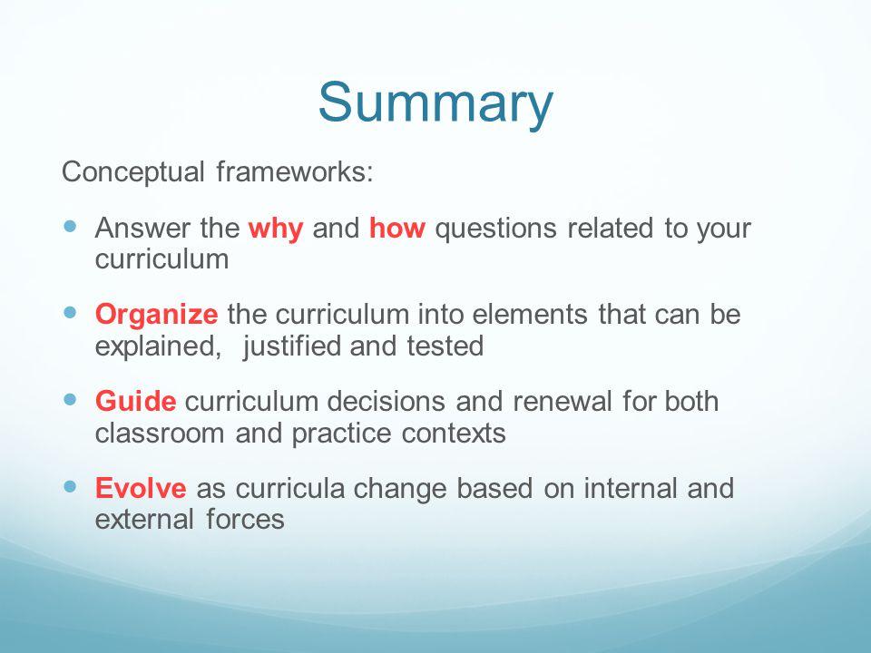 Summary Conceptual frameworks: