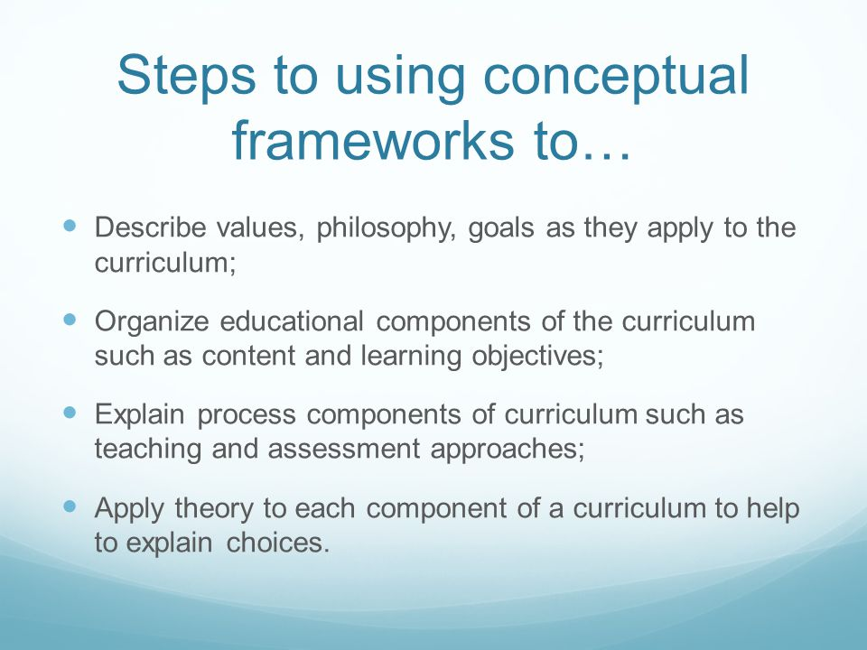 Steps to using conceptual frameworks to…