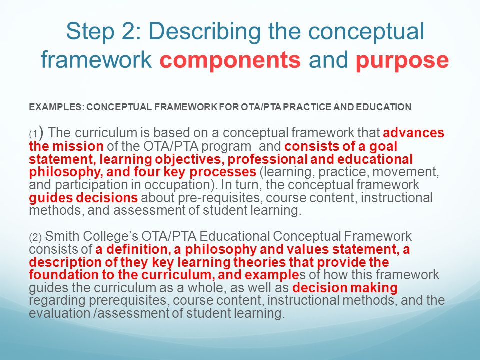 Step 2: Describing the conceptual framework components and purpose