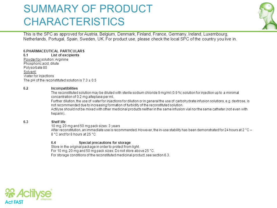 SUMMARY OF PRODUCT CHARACTERISTICS