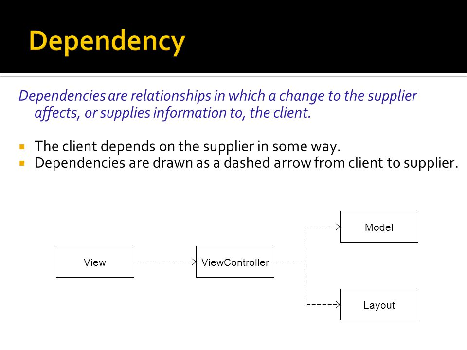 Dependency Dependencies are relationships in which a change to the supplier affects, or supplies information to, the client.