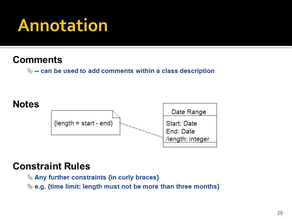 Annotation Comments Notes Constraint Rules