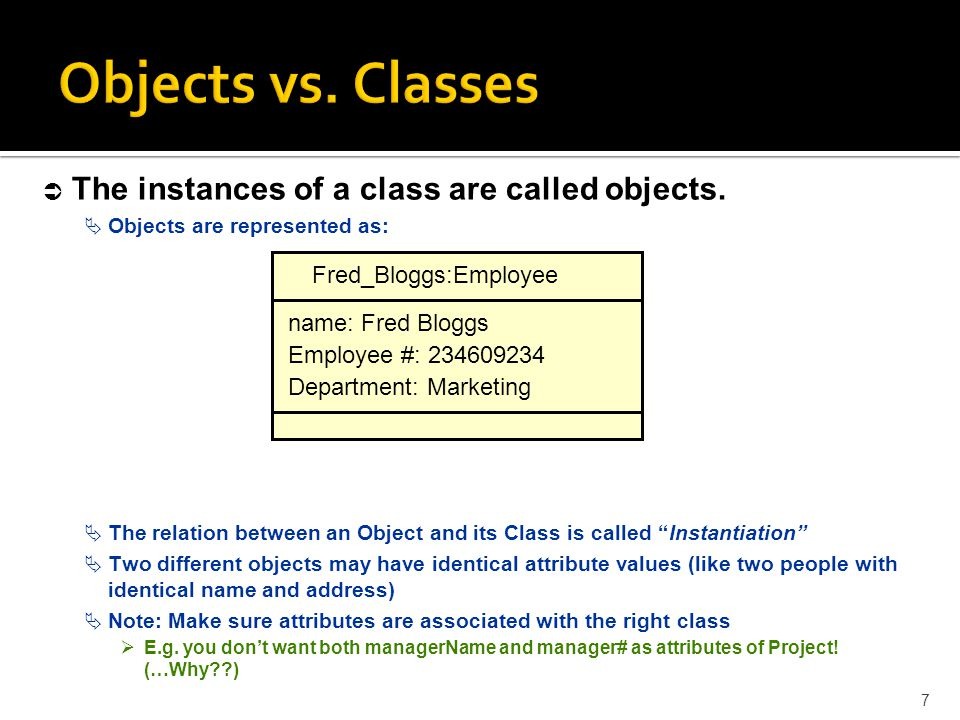 Objects vs. Classes The instances of a class are called objects.