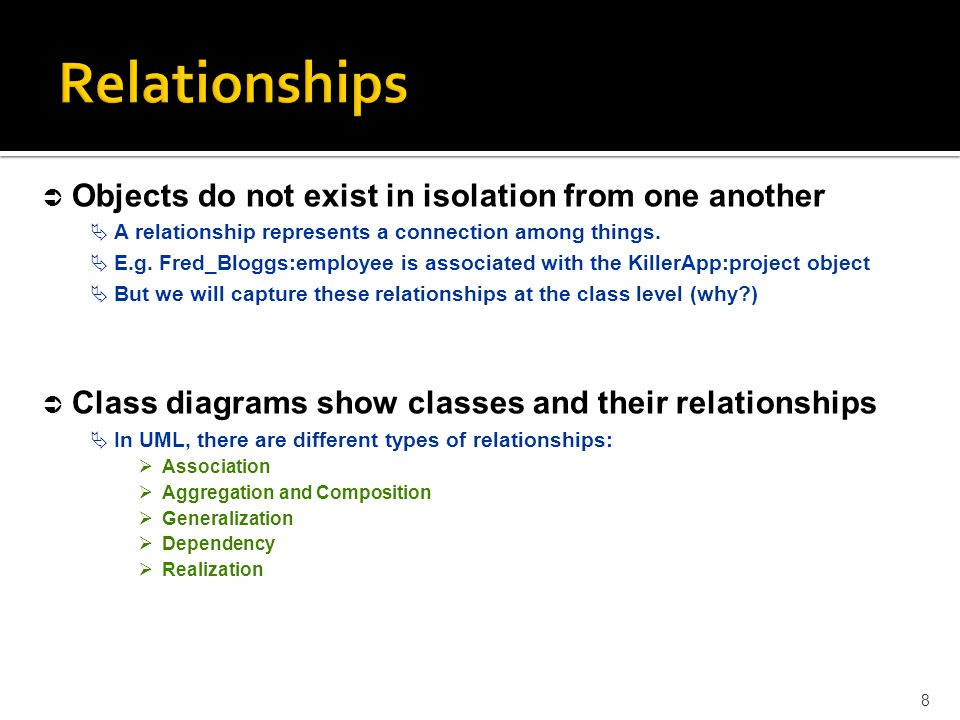 Relationships Objects do not exist in isolation from one another