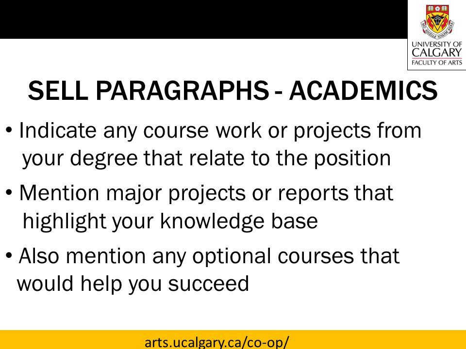 SELL PARAGRAPHS - ACADEMICS