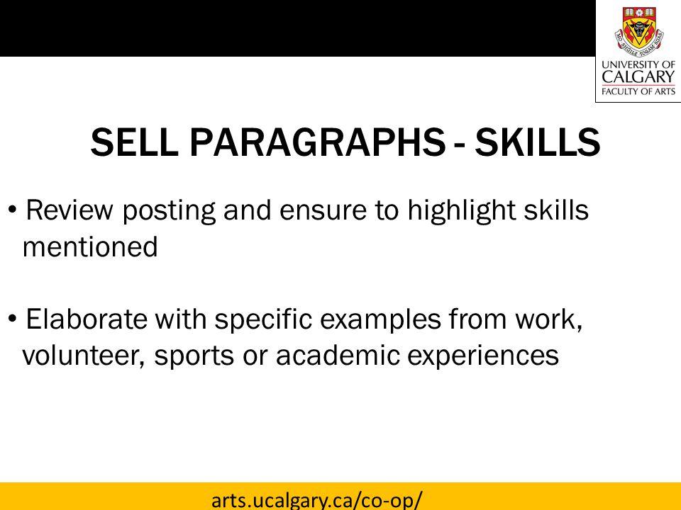 SELL PARAGRAPHS - SKILLS
