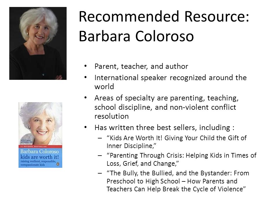 Recommended Resource: Barbara Coloroso