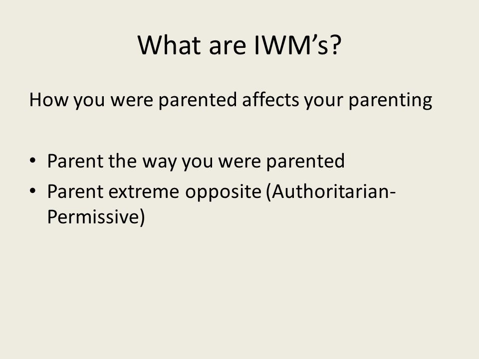 What are IWM's How you were parented affects your parenting