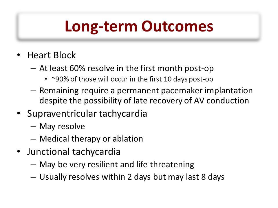 Long-term Outcomes Heart Block Supraventricular tachycardia